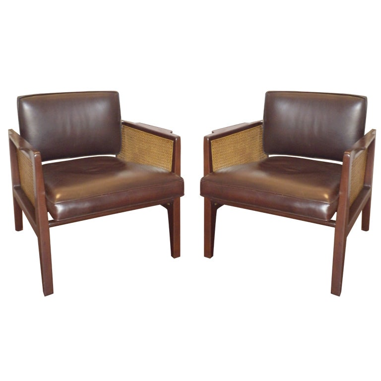 Pair Of Dunbar Leather Care Chairs At 1stdibs