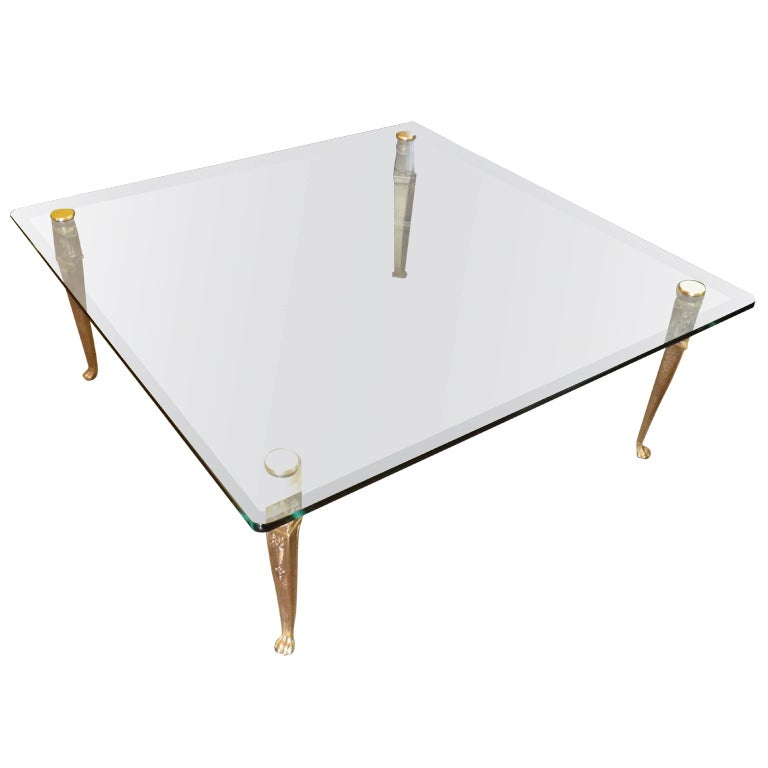 Glass Top Coffee Table With Cast Bronze Legs Gilded 24k Gold For Sale At 1stdibs