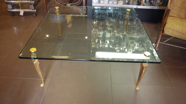 glass top coffee table with cast bronze legs gilded 24k gold at 1stdibs. Black Bedroom Furniture Sets. Home Design Ideas