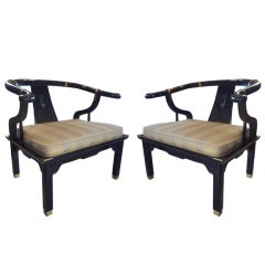 Pair of Lounge Chairs in the Manner of James Mont