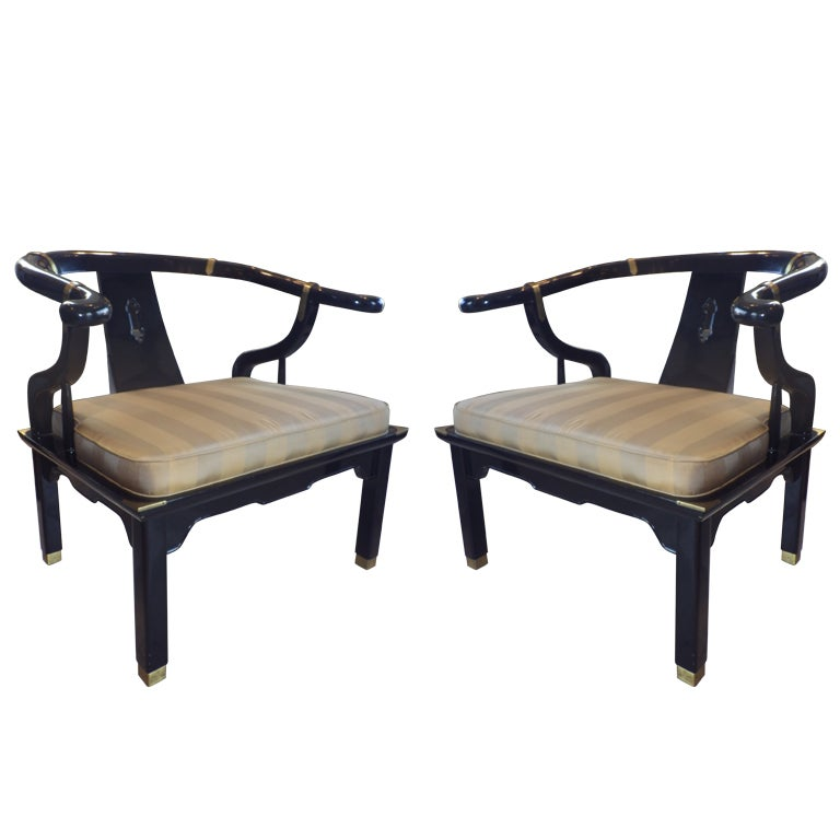 Pair of Lounge Chairs in the Manner of James Mont For Sale
