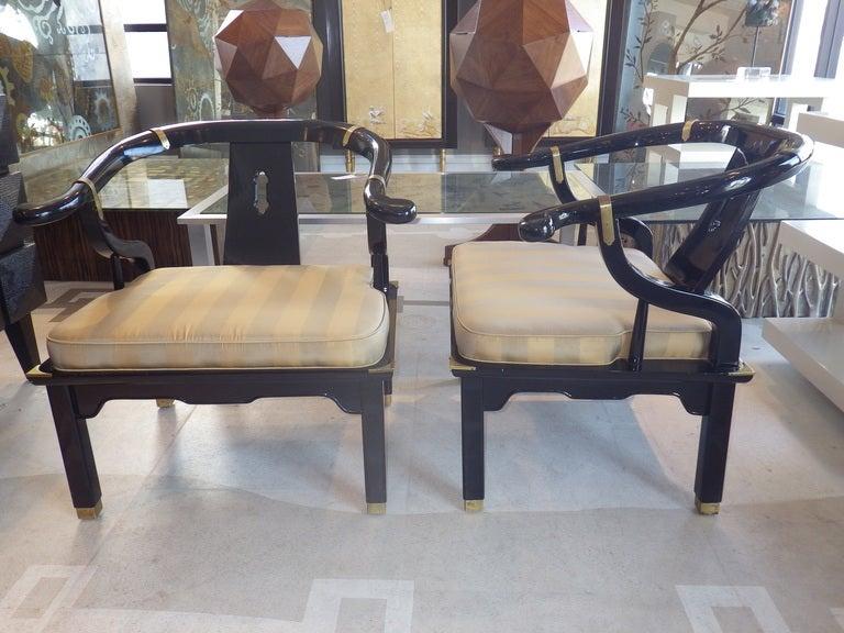 American Pair of Lounge Chairs in the Manner of James Mont For Sale