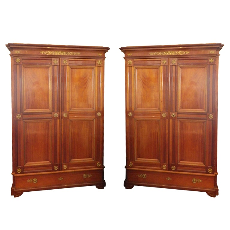 pair of empire period armoires for sale at 1stdibs. Black Bedroom Furniture Sets. Home Design Ideas
