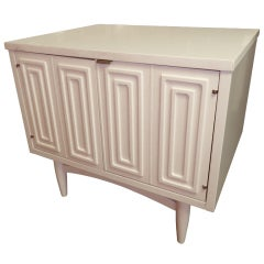 White Night Stand With Relief Pattern