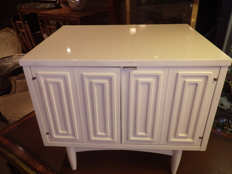 White Night Stand With Relief Pattern At 1stdibs