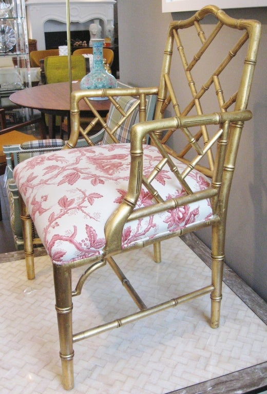 Pair Of Gold Leaf Faux Bamboo Chairs At 1stdibs