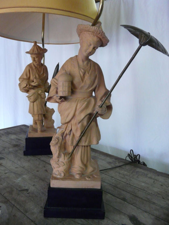 Pair Of Vintage Chinoiserie Terra Cotta Figural Lamps By Chapman At 1stdibs