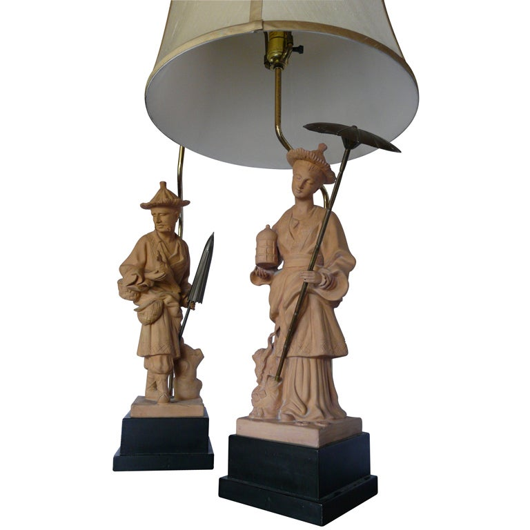 Pair Of Vintage Chinoiserie Terra Cotta Figural Lamps By