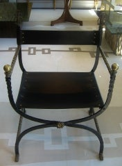 Chair w/ Leather Seat & Brass Arms image 2