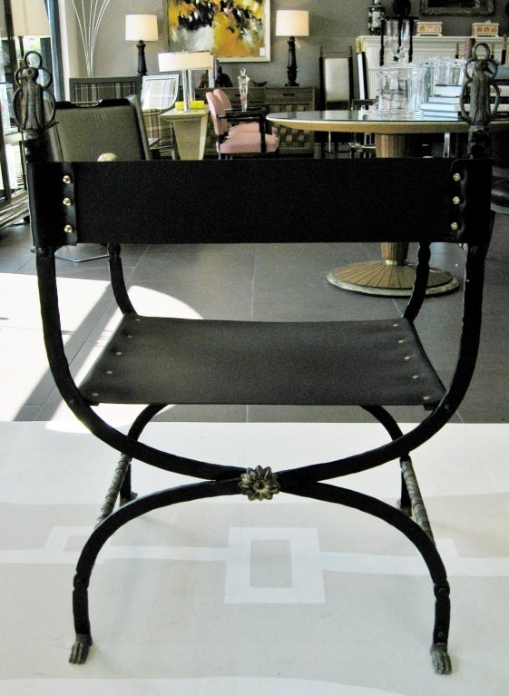 Chair w/ Leather Seat & Brass Arms 3