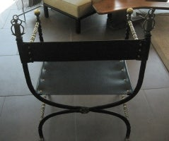 Chair w/ Leather Seat & Brass Arms image 4