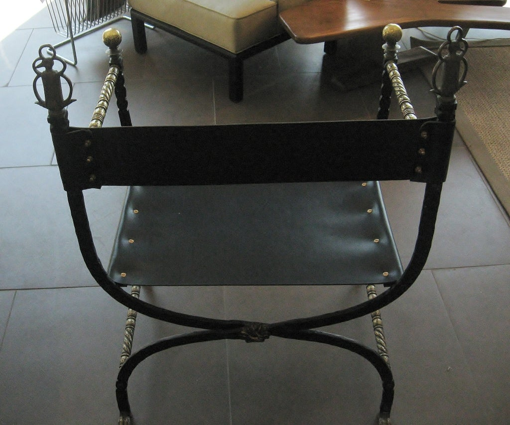 Chair w/ Leather Seat & Brass Arms 4