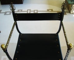 Chair w/ Leather Seat & Brass Arms image 5