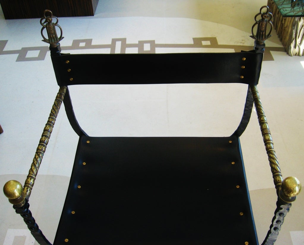 Chair w/ Leather Seat & Brass Arms 5