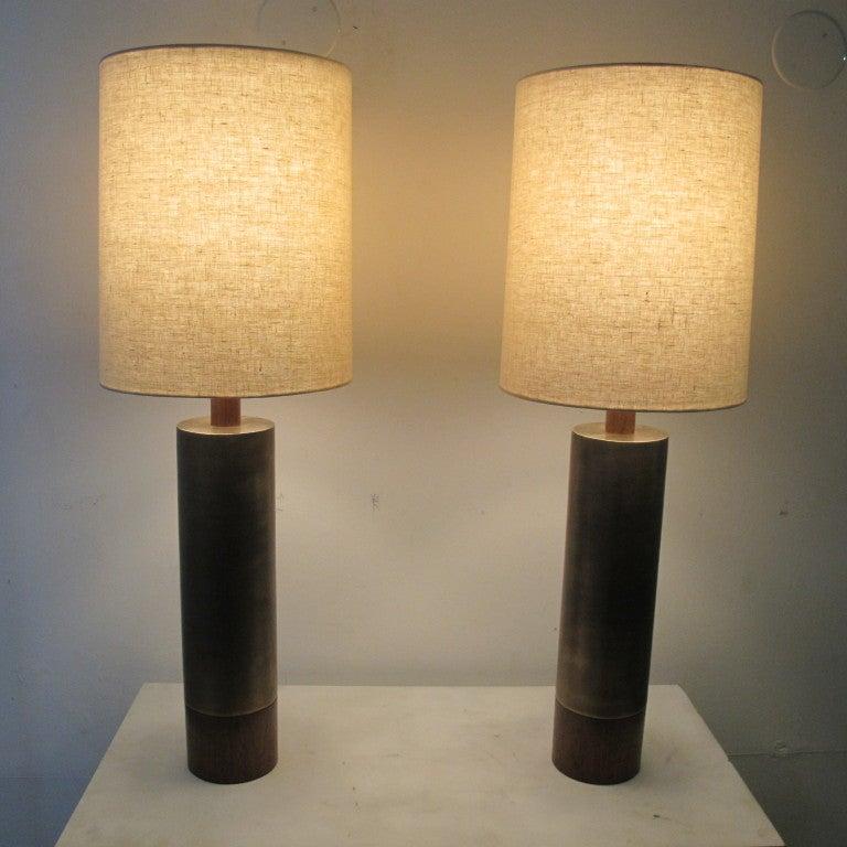 pair of vintage cylinder form table lamps at 1stdibs. Black Bedroom Furniture Sets. Home Design Ideas