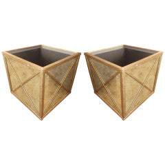 "Pair of ""X"" Distress-Mirrored Planters"