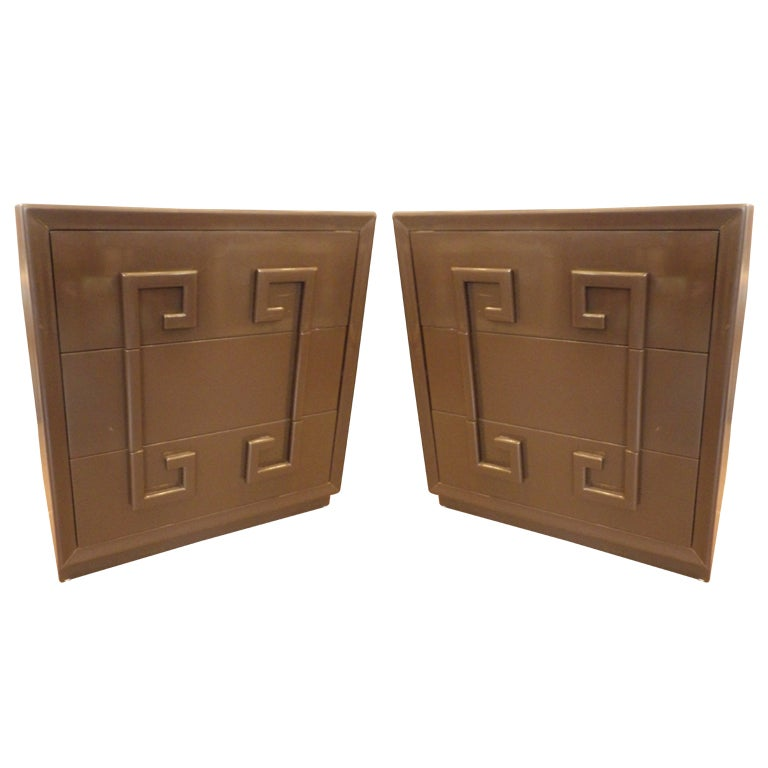 """Pair of """"Greek Key"""" Cabinets by Kittinger"""