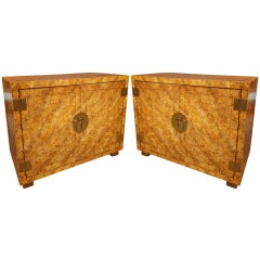 Pair of Henredon Oil Spot Lacquer Credenzas