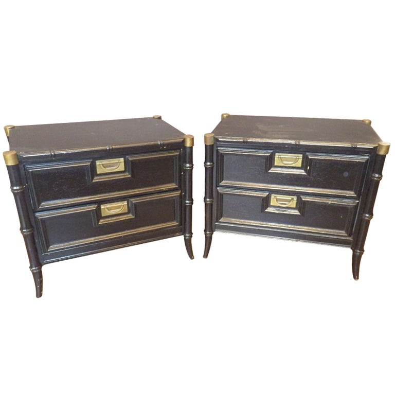 Pair Of Black Faux Bamboo Night Stands At 1stdibs
