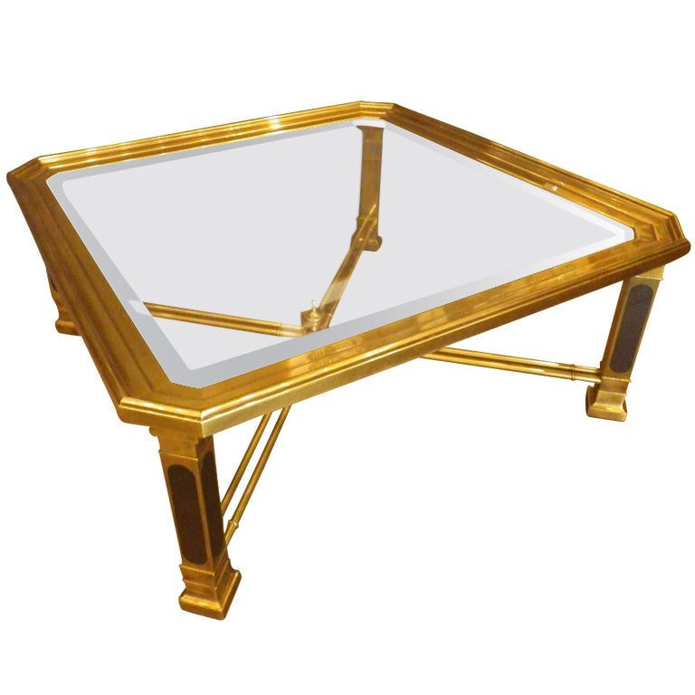 Heavy Brass Cocktail Table by Mastercraft