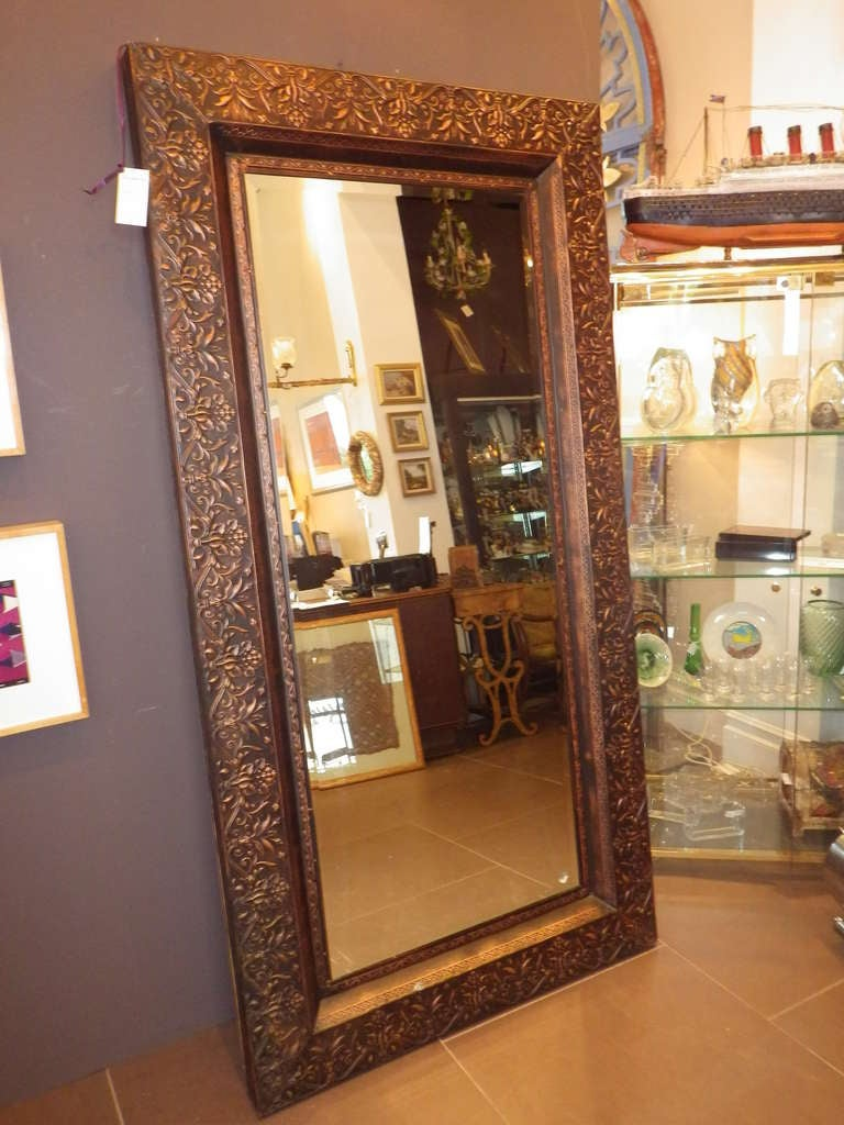 Large copper framed mirror at 1stdibs for Large white framed mirror