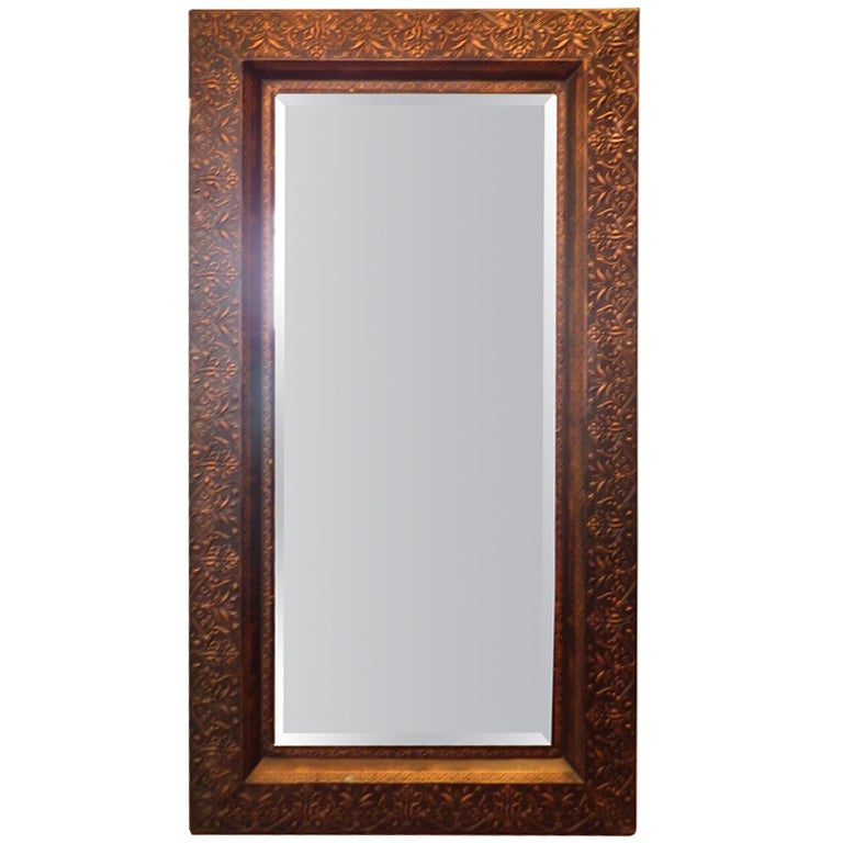 Large copper framed mirror at 1stdibs for Bathroom mirrors san antonio