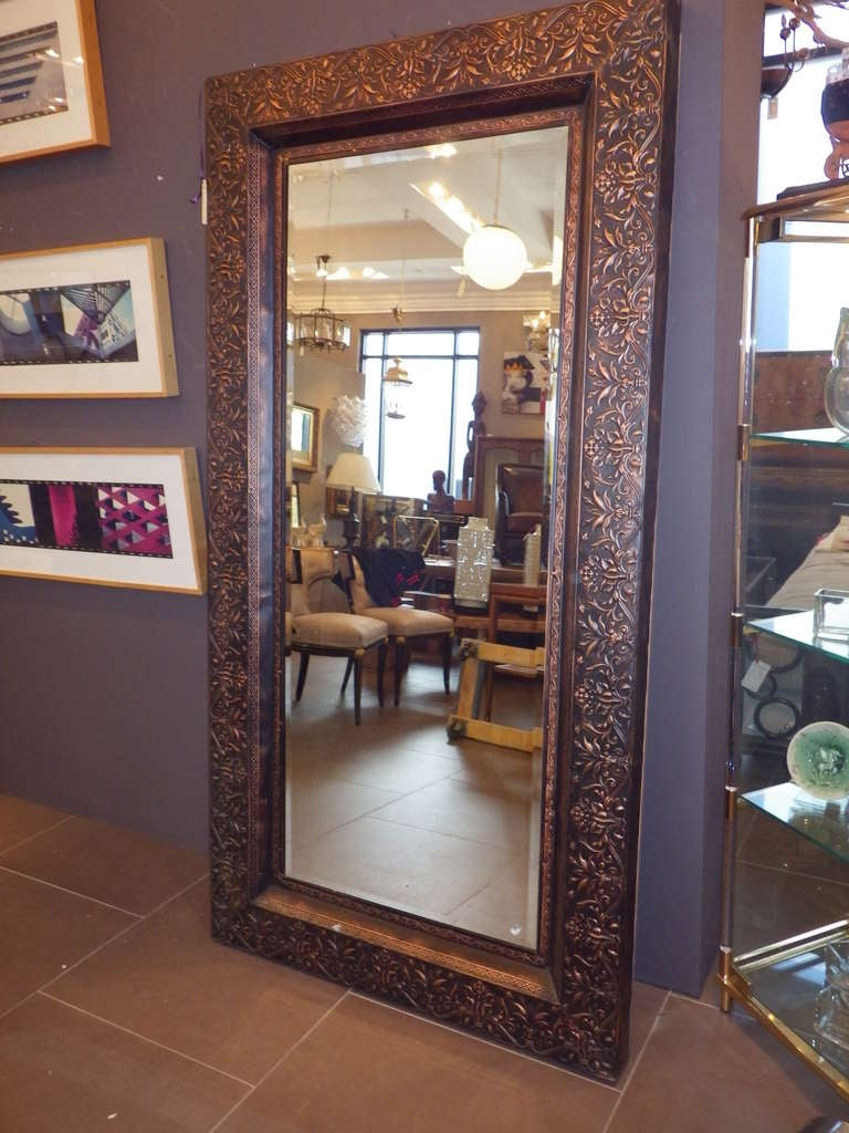 Large copper framed mirror at 1stdibs for Large framed mirrors for walls