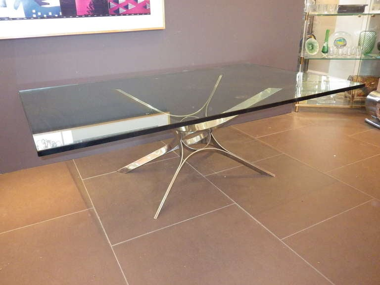 Very uniquely designed coffee table by Dunbar. Features a 3/4