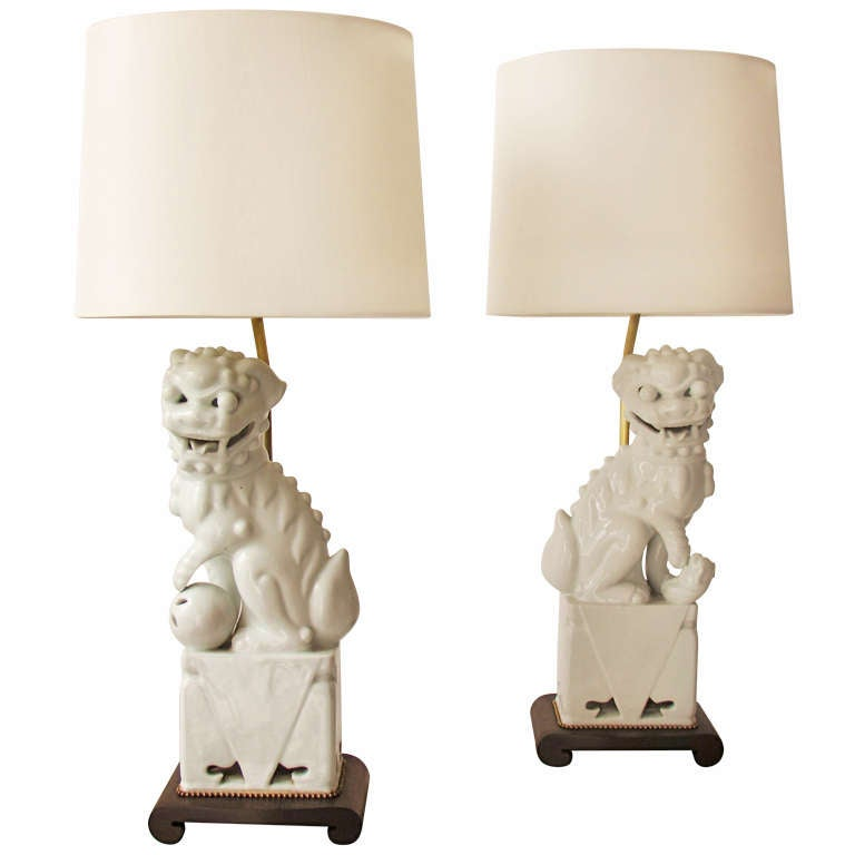 Pair Foo Dog Table Lamps For Sale At 1stdibs