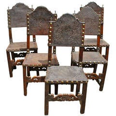 (5) Spanish 19th Century Leather Embossed Chairs
