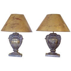 Pair Of Repousse' Brass Urn Lamps