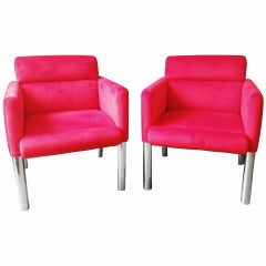 Pair of Red 1960s Italian Chairs