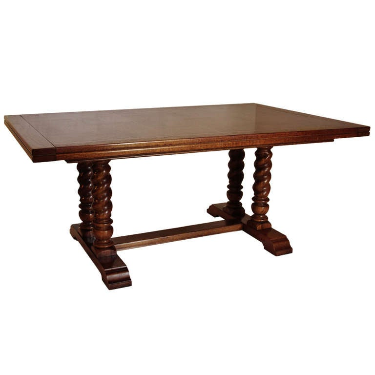 jacobean style dining table with barley twist column legs for sale at