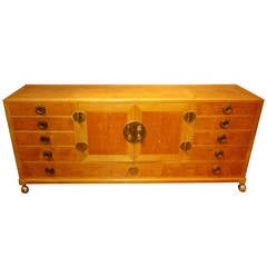 Gorgeous and Practical Wood Credenza with Brass Pulls