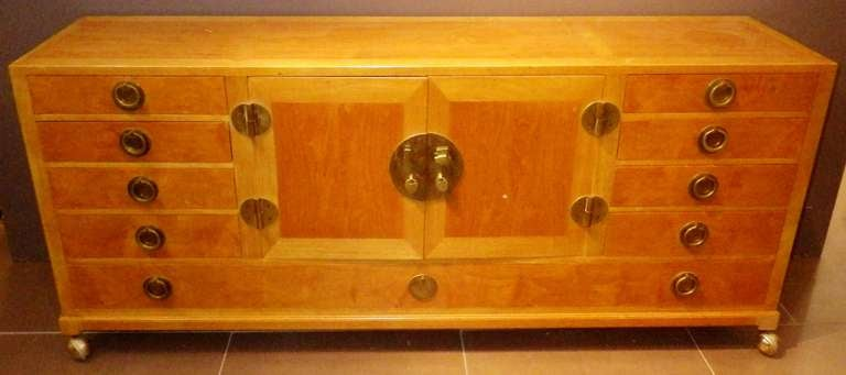 Gorgeous and Practical Wood Credenza with Brass Pulls 2