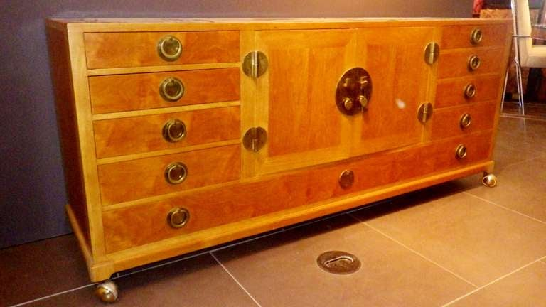 Gorgeous and Practical Wood Credenza with Brass Pulls 4