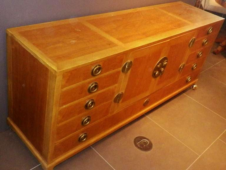 Gorgeous and Practical Wood Credenza with Brass Pulls 5