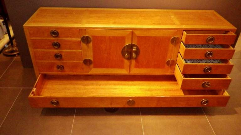 Gorgeous and Practical Wood Credenza with Brass Pulls 7