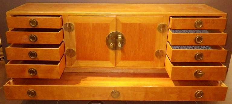 Gorgeous and Practical Wood Credenza with Brass Pulls 10