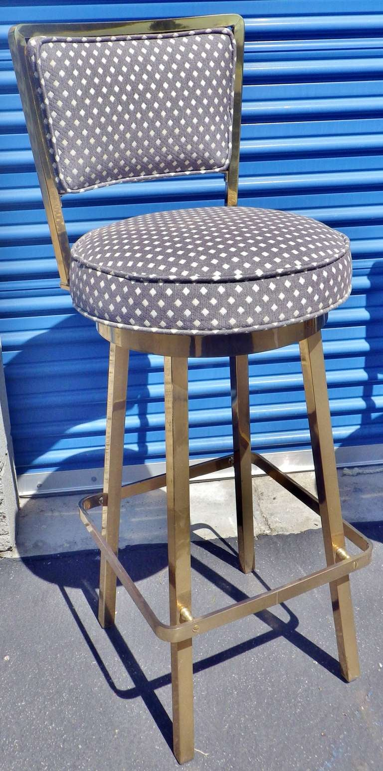 2 Upholstered Swivel Bar Stools At 1stdibs