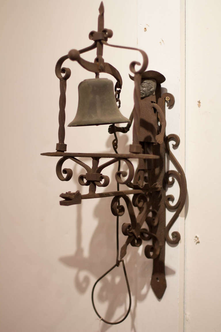 California Rancho Figural Padre Wrought Iron Entry Bell At
