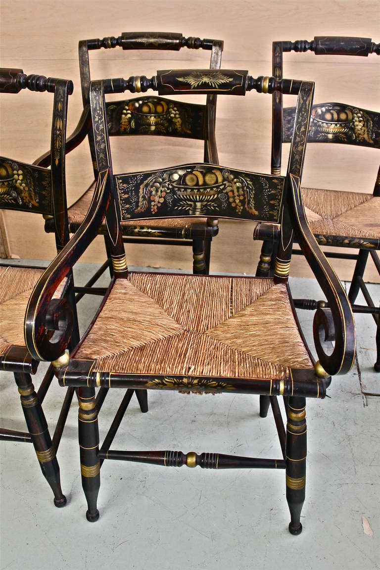 Beau Set Of Ten Antique Hitchcock Chairs, Circa 1850 In Excellent Condition For  Sale In Los