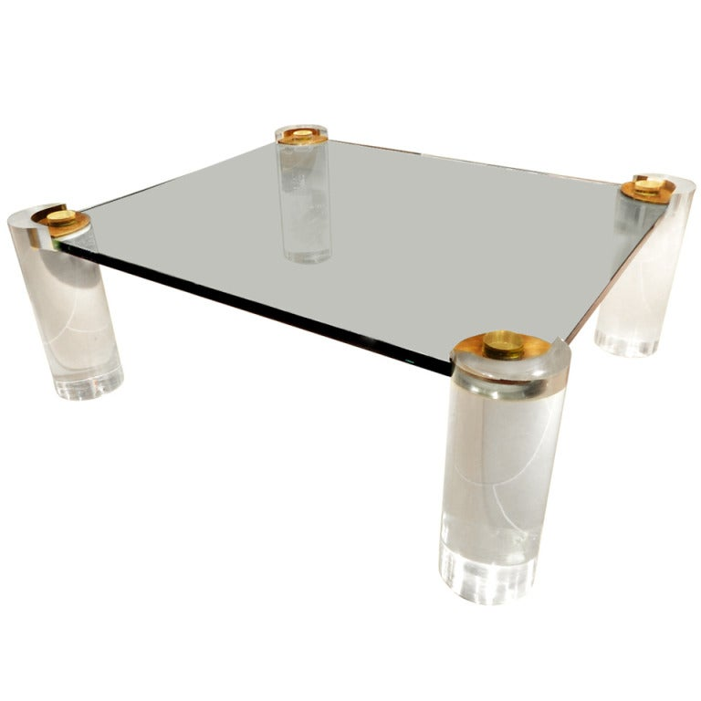 Large lucite chrome and brass coffee table at 1stdibs - Mid Century Lucite And Glass Coffee Table By Karl Springer