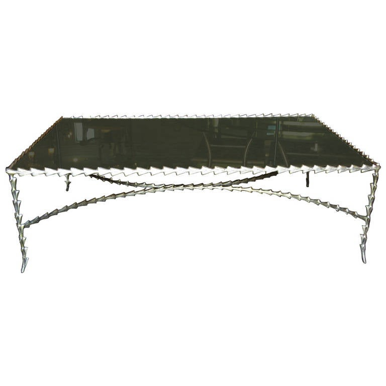 Large Silver Leaf Coffee Table At 1stdibs
