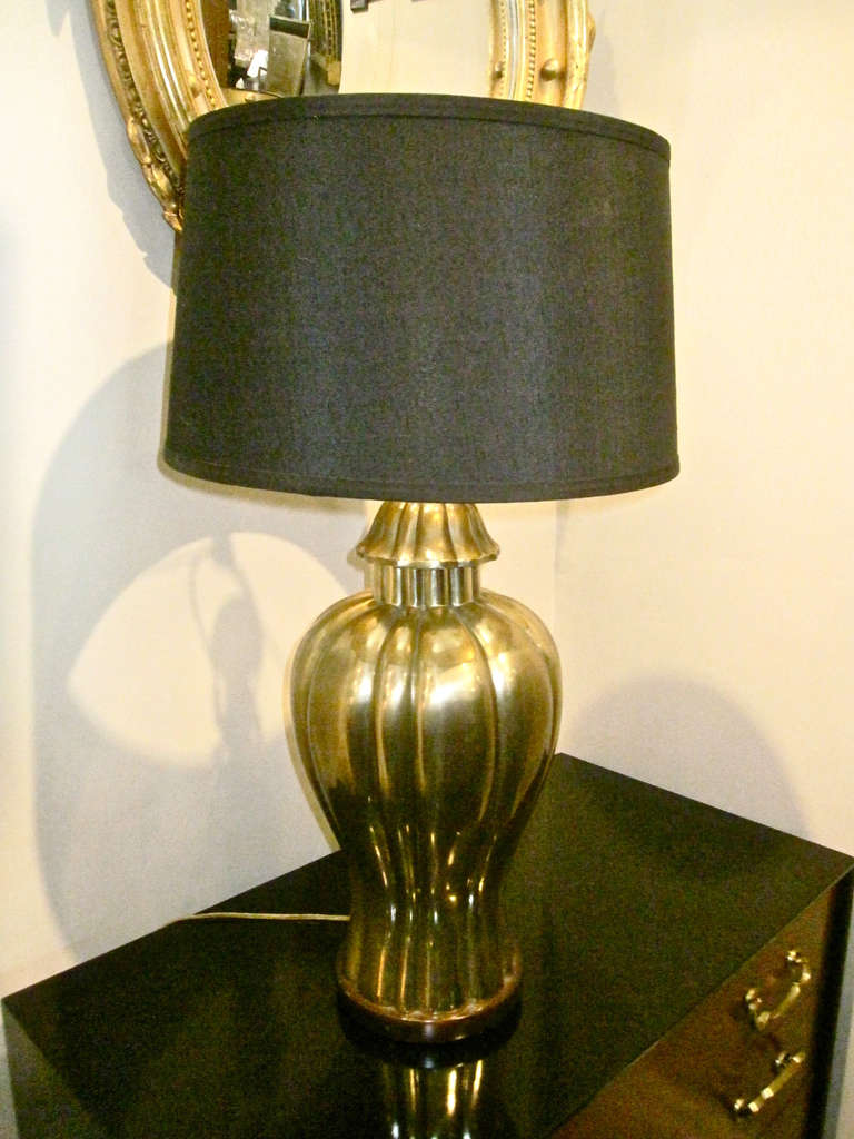 Pair Large Frederick Cooper Brass Lamps, c. 1970-80 2
