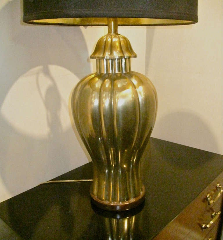 Pair Large Frederick Cooper Brass Lamps, c. 1970-80 5