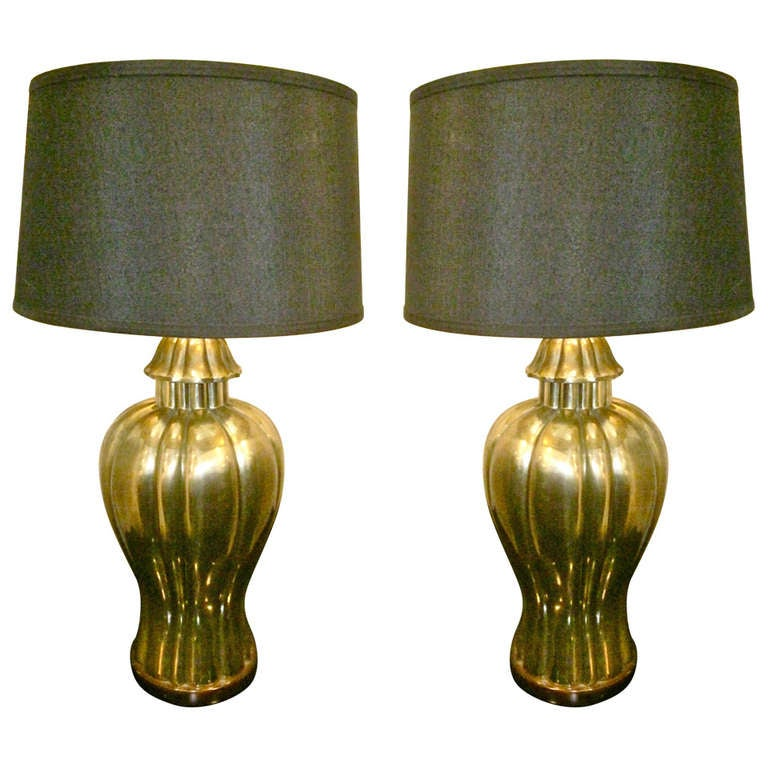 Pair Large Frederick Cooper Brass Lamps, c. 1970-80 1