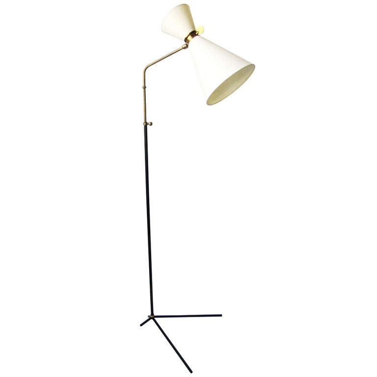 Mid-Century Floor Lamp In The Style Of P. Gauriche At 1stdibs