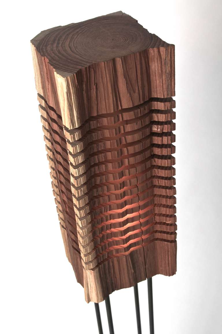 Large Split Grain Floor Standing Redwood Illuminated