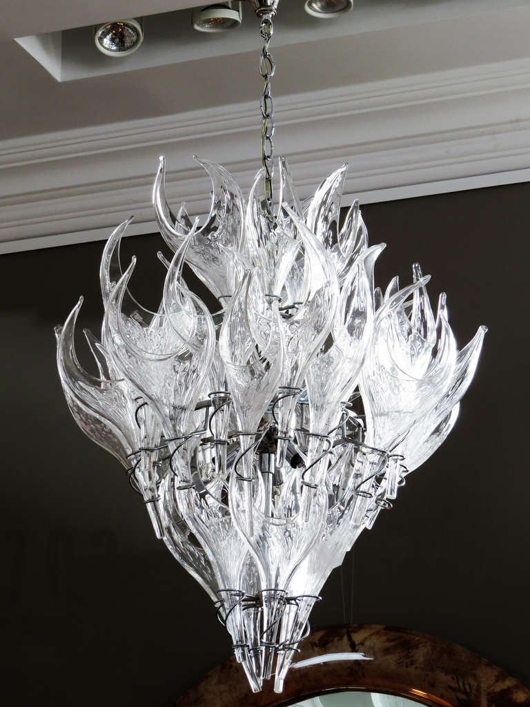 Vintage italian hand blown crystal chandelier at 1stdibs Blown glass chandelier